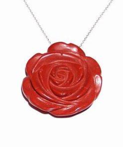 Trandafir din carneol - pandantiv pe lant din argint