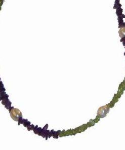 Colier din cristale de olivina, ametist si perle