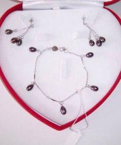 Set din argint - cercei si bratara cu perle de cultura