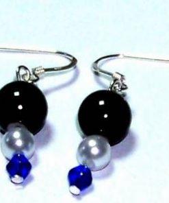 Cercei fantezie din imitatii cristale si perle, cu argint