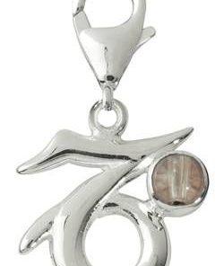 Pandantiv unisex din argint cu cristal de stanca - Capricorn