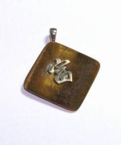 Pandantiv unisex din ochi de tigru cu ideograma norocului