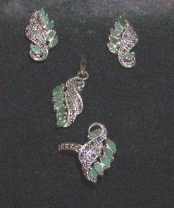 Set din argint cu smarald si marcasit