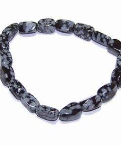 Bratara din obsidian -Fulg de nea- pe elastic