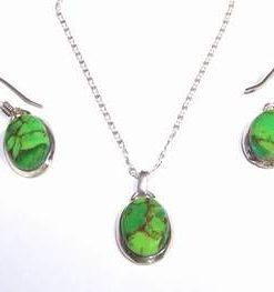 Set din turcuaz verde - -Piele de Sarpe- cu argint