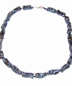 Colier din obsidian fulg de nea cu inchizatoare din argint