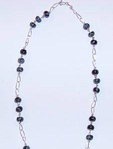 Colier din argint cu cristale de obsidian