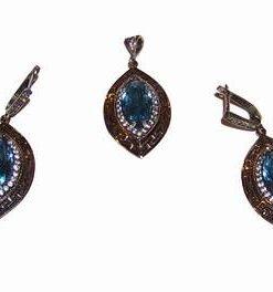 Set din argint cu cristal de acvamarin si simbolul sanatatii