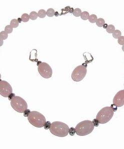 Set argintat din cuart roz si pirita - cercei si colier
