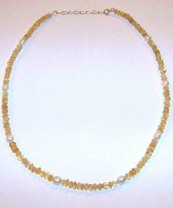 Colier cu cristale de citrin si perle de cultura