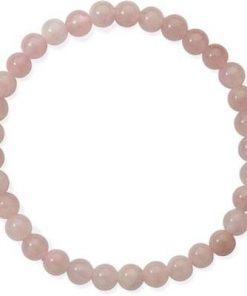 Bratara din sfere mici de cuart roz, pe elastic