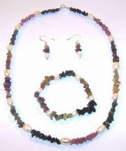 Set din turmalina multicolora si perle