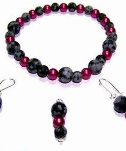 Set fantezie din cristale de obsidian-fulg de nea- si perle