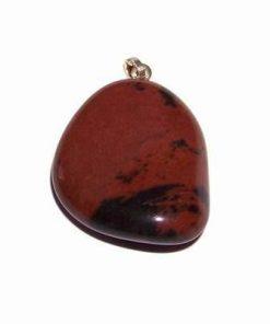 Pandantiv din obsidian rosu-negru cu agatoare de argint