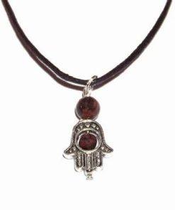 Pandantiv din metal nobil cu cristal de obsidian mahon
