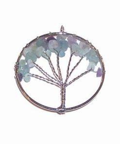 Pandantiv placat cu copacul vietii si cristale de fluorit