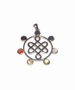 Pandantiv placat cu argint si cristalele celor 7 chakre