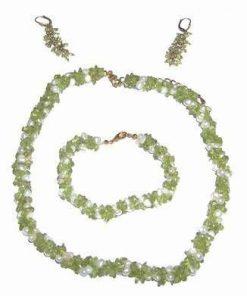 Set placat din olivina si perle naturala - UNICAT!