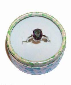 Inel din argint  925cu cristal de topaz mistic, multifatetat