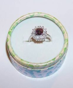 Inel din argint cu cristal de topaz mistic, multifatetat
