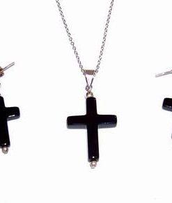 Set de cruciulite din obsidian in montura din argint