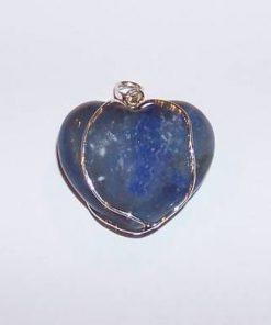 Inima din cuart albastru in montura din argint
