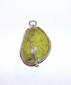 Pandantiv din opal verde in montura din argint