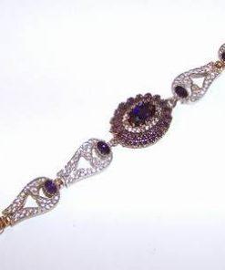 Bratara din argint, placata, cu cristale de ametist