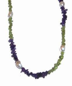 Colier din olivina, ametist si perle cu argint