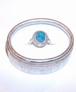 Inel din argint cu cristal de acvamarin