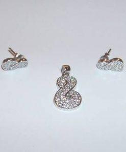 Set din argint cu marcasite, in forma de cifra 8
