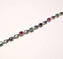 Bratara din argint cu cristale de rubin, safir si smarald