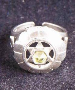Inel reglabil din argint cu olivina - chakra Anahata