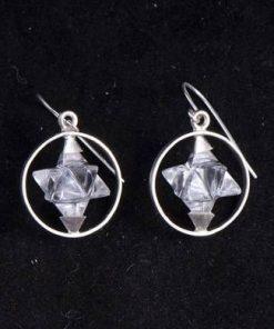 Cercei din argint cu Merkaba din cristal de stanca