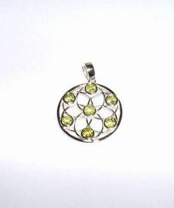 Pandantiv din argint cu olivina - Floarea Vietii