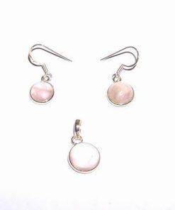 Set din argint cu cristale de cuart roz