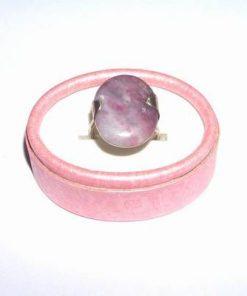 Inel din argint, reglabil, cu turmalina pink