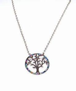 Colier din argint cu Copacul Vietii si cristalele chakrelor