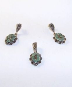 Set din argint cu smarald si marcasite