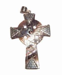 Pandantiv din sidef cu argint - Crucea Celtica