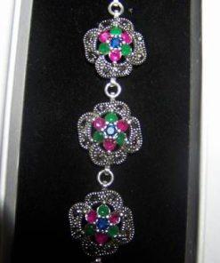 Bratara din argint 925 cu rubin safir si smarald, marcasite