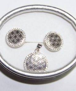 Set din argint 925 cu floarea vietii si zirconi