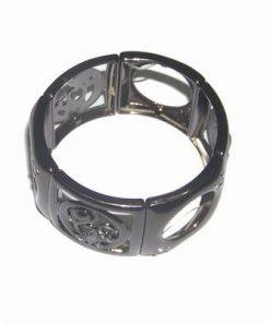 Bratara pe elastic din hematit si simboluri de protectie