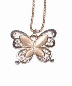 Colier fluturele eliberarii de trecut placat cu aur roz
