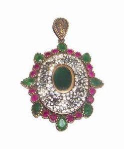 Pandant din argint 925 cu smarald si rubin