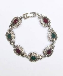 Bratara cu rubin si smarald industrial pe metal nobil