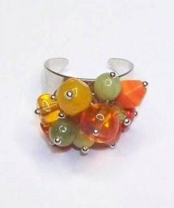 Inel fantezie reglabil cu cristale de agat multicolore