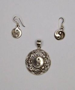 Set Feng Shui din argint cu yin Yang si cele 8 simboluri