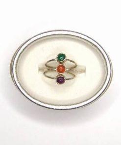 Inel din argint 925 cu 3 cristale din smarald rubin si safir