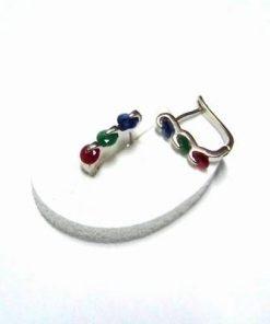 Cercei din metal nobil cu cristal tip  rubin safir smarald